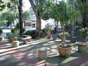 Concrete plug and planter seating