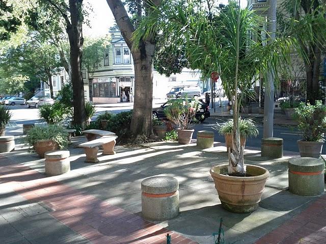 Concrete plug and planter seating