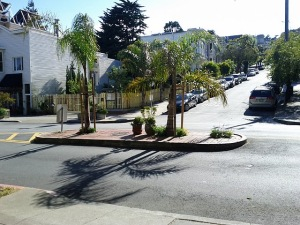 The first planted island encountered marks the Noe entrance to Duboce Triangle.
