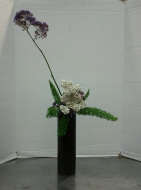 Upright Nageire, Variation #4, with yarrow, statice, and foxtail ferns.