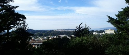 Mt. Tamalpais on the horizon, and view of the Pacific Ocean.