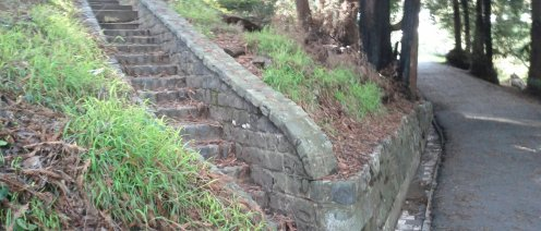 A stone WPA staircase up the hillside.