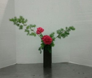 Slanting Nageire Variation #2, with Asparagus retrofractus and hot pink carnations.