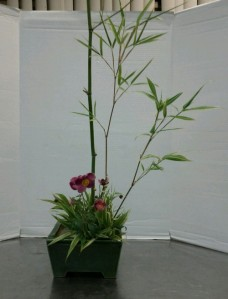 Special Occasion arrangement. Sinobambusa tootsik 'Albostriata' is my bamboo, highlighted with Japanese anemone.