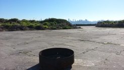 A parting shot of the city skyline, across the Parade Ground. This metal basin is used for the Thanksgiving Day bonfire that happens at dawn every year.