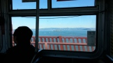 There's Alcatraz on the bay side of the bridge.