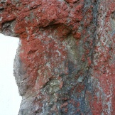 Beautiful red lichen on the rocks over the tunnel entrance.