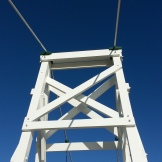 Wooden bridge tower.