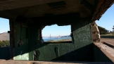 SF skyline through the ruins of Battery Mendell.