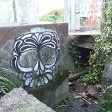 Beautiful graffiti in an old structure below the berm.