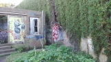 """The red graffito marks the entrance into the """"berm""""."""