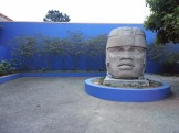 Loving the blue of the walls in the sunken Toltec garden at CCSF's Diego Rivera Theater.