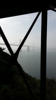 The Bay Bridge from under the roadway.