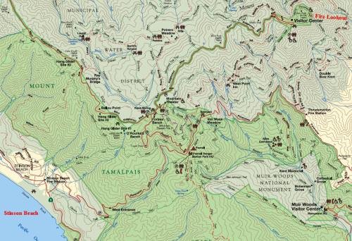Trail map of Mt. Tam.