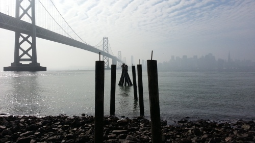 The PHENOMENAL view of the SF skyline from a beach on Yerba Buena Island.