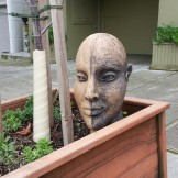 Artsy head sculpture in a street planting? That's a Stray Angela.
