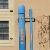 "Amusing sight in a sewage plant: pipes for ""No. 2 Water"" and ""No. 1 Water""."