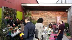 The party working in various spots around the store's back patio. A perfect private space for a smallish group.