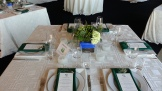 ... and square centerpieces on square tables.