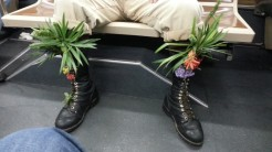 I LOVE this! Guy across from me on the bus home the other night, rocking (the latest trend?) botanical boot adornment.